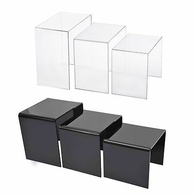 3 PC 2 Colours Acrylic Perspex Nesting End Tables Side Coffee Table Set Display