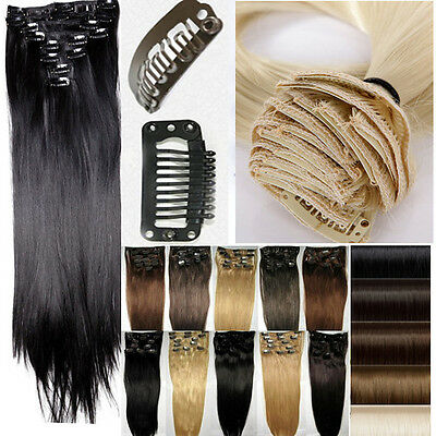 """Clip In Hair Extensions Long Straight Women Ladies Full Head 23"""" Hair Extentions"""
