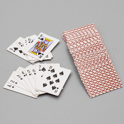 Two Sets Games Poker Paper Playing Cards Miniature Dollhouse Accessory Holdem