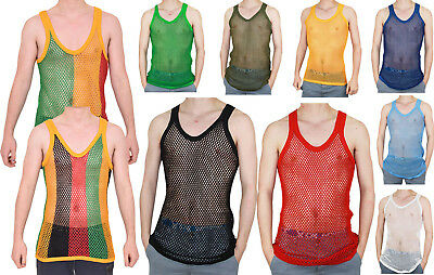 Mens Crystal 100% Cotton Fishnet Mesh String Vest Casual Sports Gym Beach Top