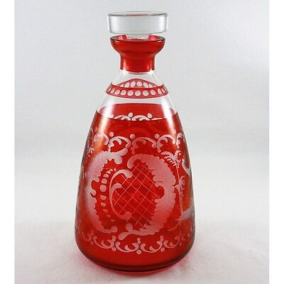 Egermann Glass Bohemia Deer And Castle Ruby Cranberry Cut To Clear Decanter