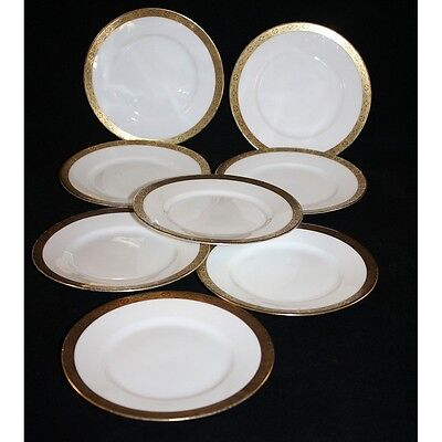 WW2 ERA C.1940, HUTSCHENREUTHER, SET OF 6 BREAD AND BUTTER PLATES, GOLD BAND