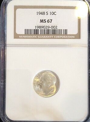 1948 S Roosevelt Dime NGC MS 67