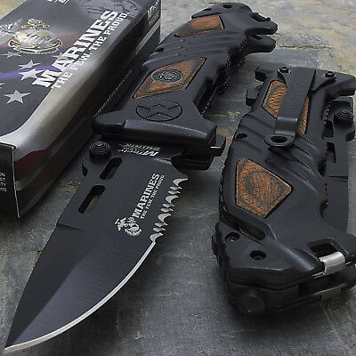"8.25"" USMC MARINES TACTICAL SPRING ASSISTED TACTICAL POCKET KNIFE Blade Folding"