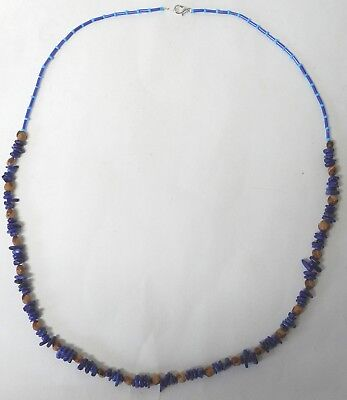 Navajo Ghost Cedar Beads Juniper Berry, Blue Lapis nuggets 30 inch Necklace