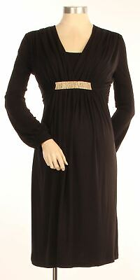 New Japanese Weekend Maternity Nursing Long Slv Black Stretch Jersey Shift Dress