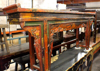 """78"""" L Antique Console Altar Table Oriental Vintage Orange Green Yellow Carvings"""