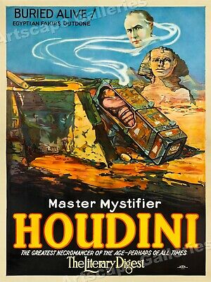 1926 Houdini Vintage Style Magic Poster Buried Alive! - 24x32