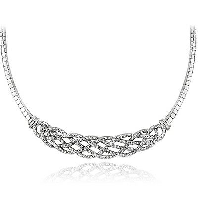 1/4 Ct Diamond Weave Frontal Omega Necklace