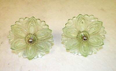 """Vintage Victorian Pair (2) Of Glass Curtain Tie Backs Green 3 1/2"""""""