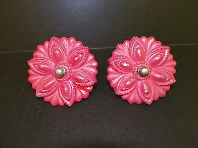 """Vintage Victorian Pair (2) Of Glass Curtain Tie Backs Red Painted 3 1/2"""""""