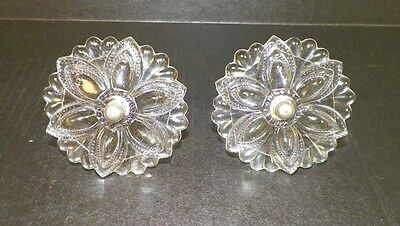 """Vintage Victorian Pair (2) Of Glass Curtain Tie Backs Clear 3 1/2"""""""