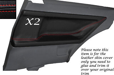 Red Stitch 2X Rear Door Card Leather Skin Covers Fits Bmw E36 Coupe 91-98