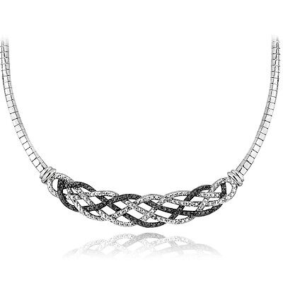 1/4 Ct Treated Black & White Diamond Weave Frontal Necklace in Brass