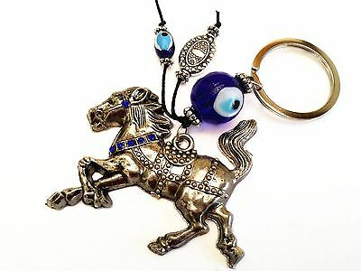 Blue Evil Eye with Tribute zodiac Horse key ring /key chain hanging