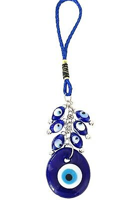 Blue Evil Eye with owl  hanging charm ornament for protection
