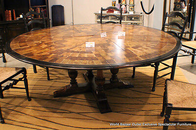 """64"""" adjustable to 84"""" Round Dining Table Solid Walnut Oyster veneer inlay AG"""