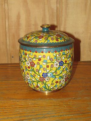 Old or Antique Chinese Cloisonne Humdor and Vases in Yellow 3 pieces.