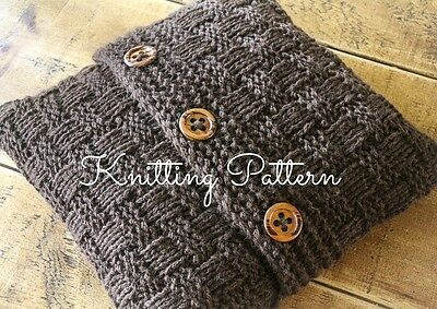 KNITTING PATTERN - Super Chunky Basketweave Cushion Cover - Quick & Easy