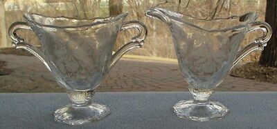 Heisey Glass Orchid Etch Creamer and Sugar Bowl