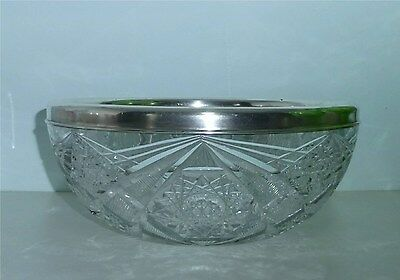 ABP Cut Glass Bowl with Gorham Sterling Silver Rim
