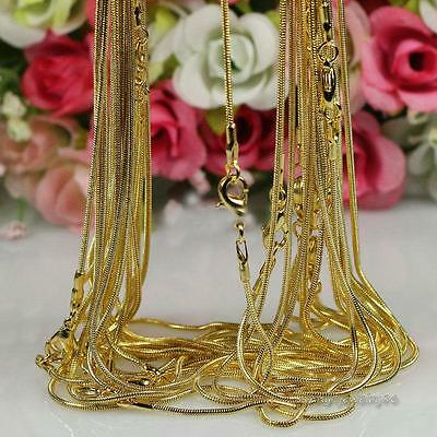 New! Wholesale lots 5pcs 18K Yellow Gold Filled snake Chain Necklace 16-30 inch