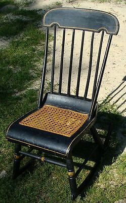 Victorian Eastlake Style Cane Bottom and Windsor Back Rocking Chair