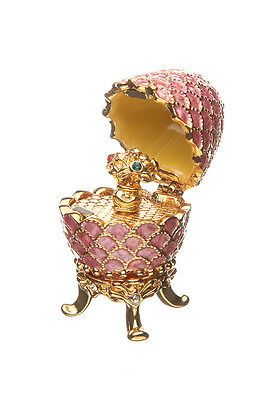 Decorative Faberge Egg Pinecone with Bouquet of Flowers pink 3.8 cm