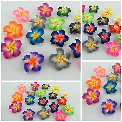 NEW Mixed Colour Polymer Fimo Clay Flower Beads - 14MM - JEWELLERY FINDINGS
