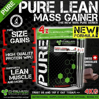 4Kg Pure Lean Mass Weight Gainer Swiss Chocolate Flavour Whey Protein Wpc Oats