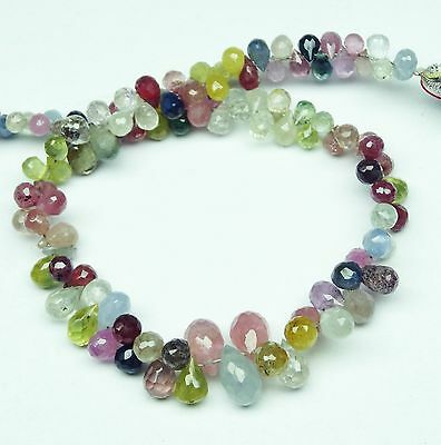 """Natural Multi Sapphire Faceted 5*3 To 7*4Mm Teardrop Shape Briolettes 54Ct. 7"""""""