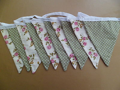 Traditional Cream Rose & Sage Green Mini Spot Double Sided Bunting 13ft/4m