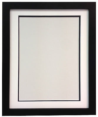 H7 Black MDF Picture Photo Frames With Black White Ivory Double Bevel Mounts
