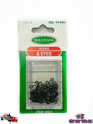 Set of 14 Hooks and Eyes Black Size 2 Top Skirts Pants Blouses | KD30631
