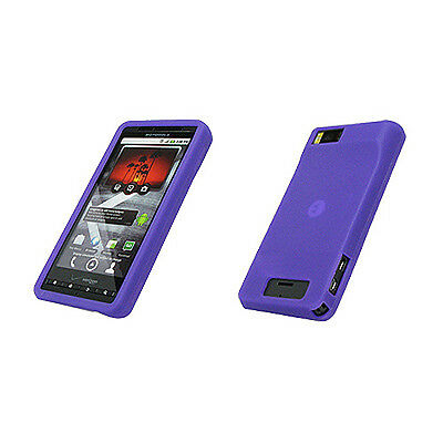 Purple Soft Silicone Gel Skin Case Cover Motorola Droid X MB810 X2 MB870 G-16