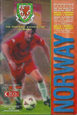 WALES v NORWAY~ 7 OCTOBER 2000 ~ WORLD CUP QUALIFIER ~ AT SWANSEA