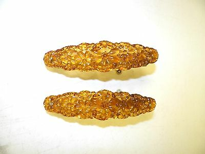 Vintage Victorian Pair (2) Of Glass Curtain Oval Tie Backs Amber 6""