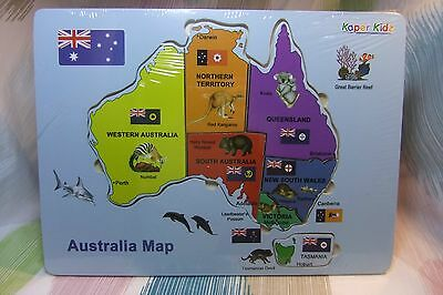 Kaper Kidz Children's Wooden Australian Map States Puzzle Learning & Recognition