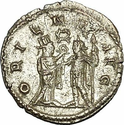 Gallienus receiving wreath from turreted  figure Unlisted  Ancient Coin i39926