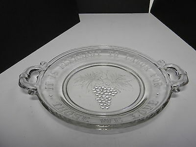 "EAPG Handled Bread Plate Serving Tray Clear Fruit Pattern w Quote 9 7/8"" D 1880s"