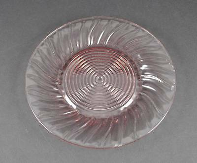 Vintage Jeannette Pink Depression Swirl Dinner Plate Pressed Glass About 9 1/4""