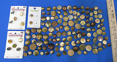 Large Mixed Lot Vintage Gold Copper Rose Tone Metal Buttons Various Sizes