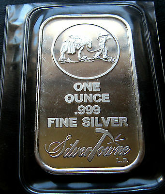 SET OF 5 x 1oz SILVER BARS ~ PROSPECTOR SILVERTOWNE .999  ~ UNC & SEALED !