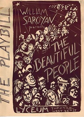 The Beautiful People Broadway Playbill  * William Saroyan * Lyceum Theatre