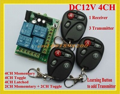 12V 4CH Relay Wireless Remote Control Lamp LED Switch Transceiver 315/433 TX RX
