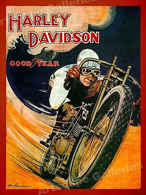 1920s Harley Davidson Motorcyle Vintage Style GoodYear Racing Poster - 24x32