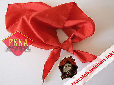 original Pioneer RED Tie scarf USSR + PIN Badge Soviet Union пионерский галстук