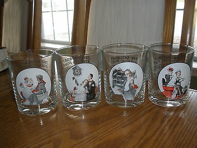 Set of 4 Norman Rockwell Saturday Evening Post Glasses- Speed Gramps