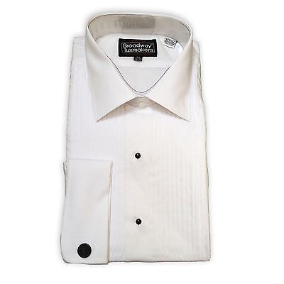 Mens 100% Cotton Tuxedo Shirt, White, Pleated, Lay Down Collar, NEW-FREE BOW TIE