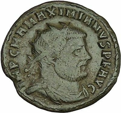 Maximian receiving Victory from Jupiter 295AD Ancient Roman Coin  i40020